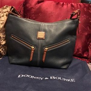 Dooney & Bourke Navy Leather 2 Zipper Front Bag